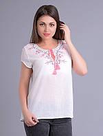 Блузка - вышиванка женская белая с неоновой вышивкой, хлопок, 46-56 р-ры