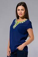Блузка - вышиванка женская синяя с неоновой вышивкой, хлопок, 46-56 р-ры
