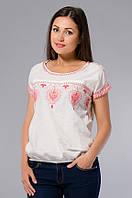 Блузка - вышиванка женская белая с красной вышивкой, хлопок, 46-56 р-ры