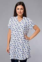 Длинная рубашка (туника), большие р-ры (48-56), с синими бабочками