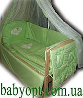 """Набор в кроватку для новорожденного  """"Элит вышивка""""  салатовый 9 элементов"""