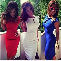 Платье футляр с глубоким вырезом из евро-крепа в разных цветах