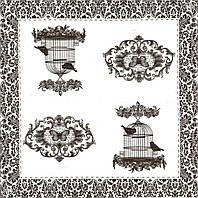 Декупажная салфетка Птицы в клетке (чёрно-белая) 4740