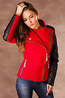 Женское пальто с кожаными рукавами Николь
