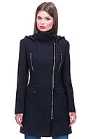 Строгое женское пальто на замке, фото 1