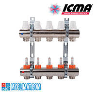 Коллектор Icma на 2 выхода с регулировачными и запорными вентилями ручными/терморегулирующими и расходомерами