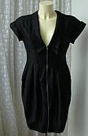 Платье модное черное элегантное летнее хлопок мини бренд Atmosphere р.42-44