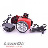 Налобный фонарь Police 508 7LED (встроенный аккумулятор+установка батарей)