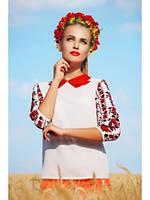 Блуза-Вышиванка Белая Красивый Рукав