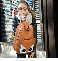 Молодёжный Школьный Модный Рюкзак Сова FOX ! Глазки  Цвет Коричневый!! В наличии,Оригинал,высококачественный