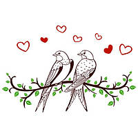 Виниловая наклейка на стену Влюбленные птицы