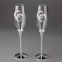 Свадебные бокалы под шампанское с декором из колец