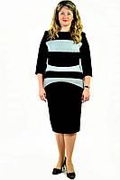Платье женское , приталенное , стрейчевое,«Нефертити»  черно-белое, 50-52,54-56