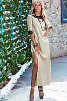 Женское нежное красивое платье в пол с двумя вырезами по бокам рукав до локтя коттон гипюр
