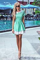 Женское романтическое платье короткое с пышной юбкой и коротким рукавом коттон стрейч