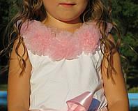 Нарядная майка под пышную юбку pettiskirt с розовыми цветами