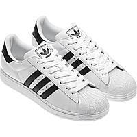 Adidas Superstar (натуральная кожа)белые с черными полосками
