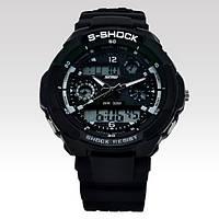 Водонепроницаемые спортивные наручные часы с LED подсветкой S-SHOCK Skmei черные с белым