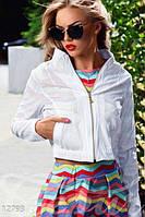 Молодежная стильная укороченная женская куртка на молнии экокожа трикотаж