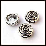 Бусина-рамка для браслетов  спираль большая (диам 1,4  см) 8 шт