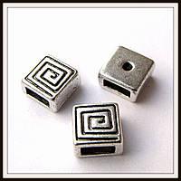 Бусина-рамка для браслетов  квадрат спираль  (0,8*0,8 см) 8 шт