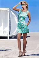 Женский модный летний комбинезон с шортиками впереди выглядит как платье без рукавов c цветочным принтом джинс