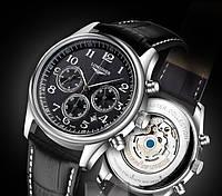 Мужские наручные часы Longines master collection black автомат (автоподзавод)