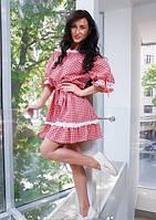 Платье Штапель в клеточку с кружевом