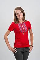 Футболка женская с вышивкой Орнамет, красная