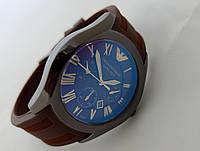 Мужские часы Emporio Armani ceramic цвет корпуса графит, коричневый ремешок