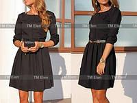 Женское классическое черное платье