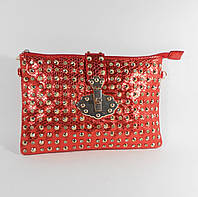 Клатч, сумочка женская с шипами 3362 красная, расцветки в наличии
