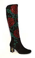 Сапоги женские замшевые демисезонные декорированы рисунком из цветов, фото 1