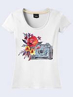 Женская 3D футболка ФОТОАППАРАТ И ЦВЕТЫ