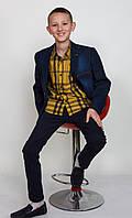 Пиджак детский школьный, джинсовый с латками.Пиджак для мальчиков.