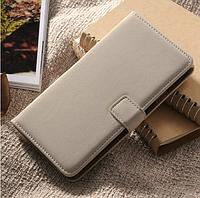 [ Samsung Galaxy Note 3 N9000 ] Кожаный чехол-книжка для телефона Самсунг серый