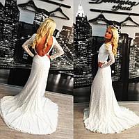 """Белое длинное платье в пол со шлейфом """"Венера"""""""