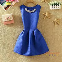 Платье женское жаккардовое с украшением синее