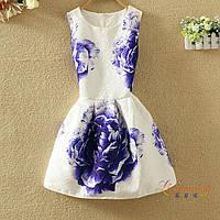 Платье женское жаккардовое с синими пионами