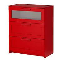 """IKEA """"БРИМНЭС"""" Комод с 3 ящиками, красный, матовое стекло"""