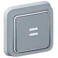 Выключатель кнопочный (встроенный) с подсветкой 230В (10А, 250В , ИР55, ИК07, НВ + НЗ контакты) с безвинтов