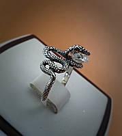 """Серебряное кольцо """"Змея"""" с камнем"""