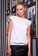 Блуза женская белая с коротким рукавом Юнона