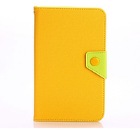 [ Samsung Tab 3 7.0 T210 T211 P3200 P3210 ] Кожаный чехол-книжка для планшета Самсунг желтый