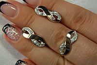 Серебряный ювелирный гарнитур - кольцо и серьги