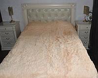 Покрывало на кровать с длинным ворсом меховое 220х240 цвет персик