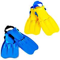 Ласты с укороченной лопастью, без задника, на ремешке, Интекс 55932 размер L, на ногу 26-29см, синие/желтые