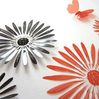 """Наклейка на стену, наклейка цветок, наклейки на шкаф """"набор 16шт цветов и 2 бабочки ЧЕРНЫЕ И КРАСНЫЕ"""