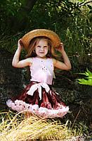 Юбка пышная  детская шоколад в розовой пене