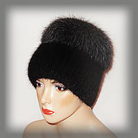 Меховая шапка из ондатры комбинированная с тонированной чернобуркой (кубанка)